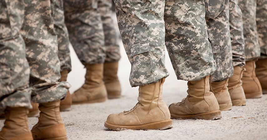 Line of military personel focused on camo and boots.