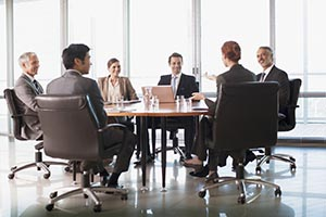 Business people meeting around a table