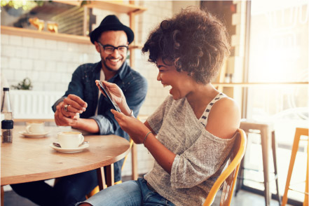 Man and woman having coffee and laughing